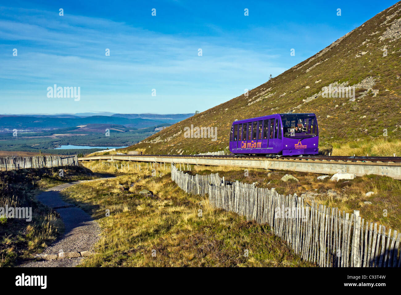 The Cairngorm Mountain funicular installation on Cairn Gorm in Cairngorm National Park Scotland with funicular car - Stock Image