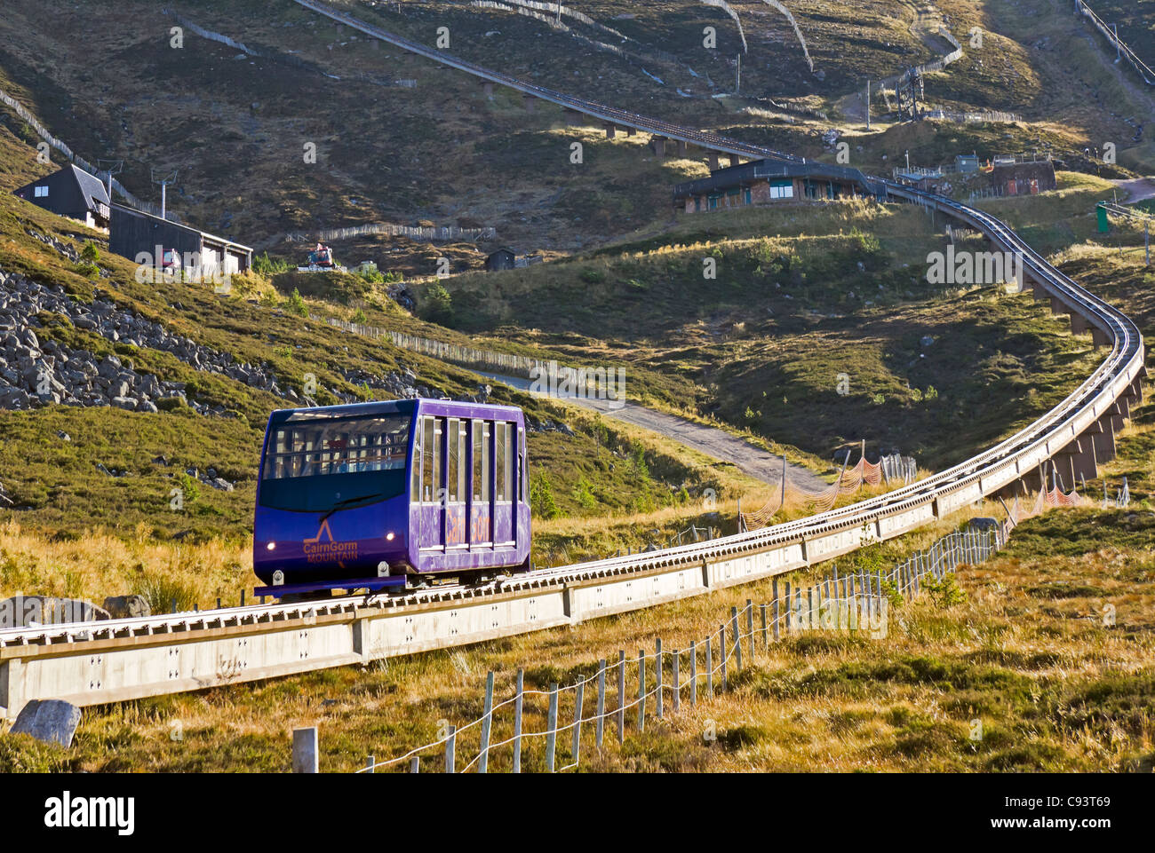 The Cairngorm Mountain middle installation on Cairn Gorm in Cairngorm National Park Scotland with funicular car - Stock Image