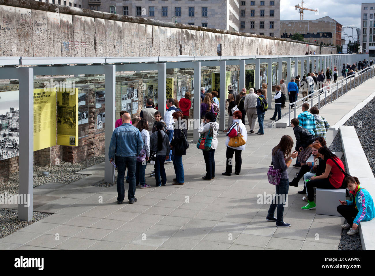 The outdoor Topography of Terror Museum on site of the former Nazi Gestapo HQ in Berlin, Germany. Part of Berlin - Stock Image
