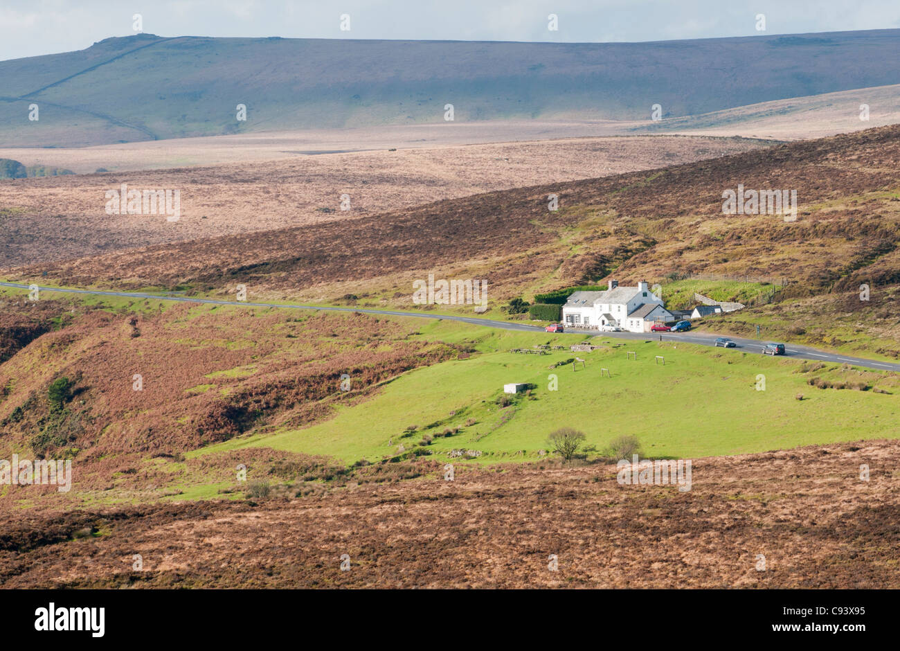 Warren House Inn near Postbridge, in the middle of Dartmoor, Devon UK - Stock Image