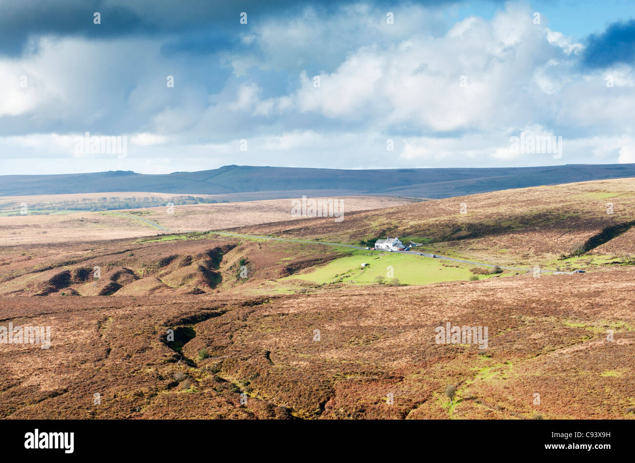 Moorland surrounding Warren House Inn near Postbridge, Devon UK - Stock Image