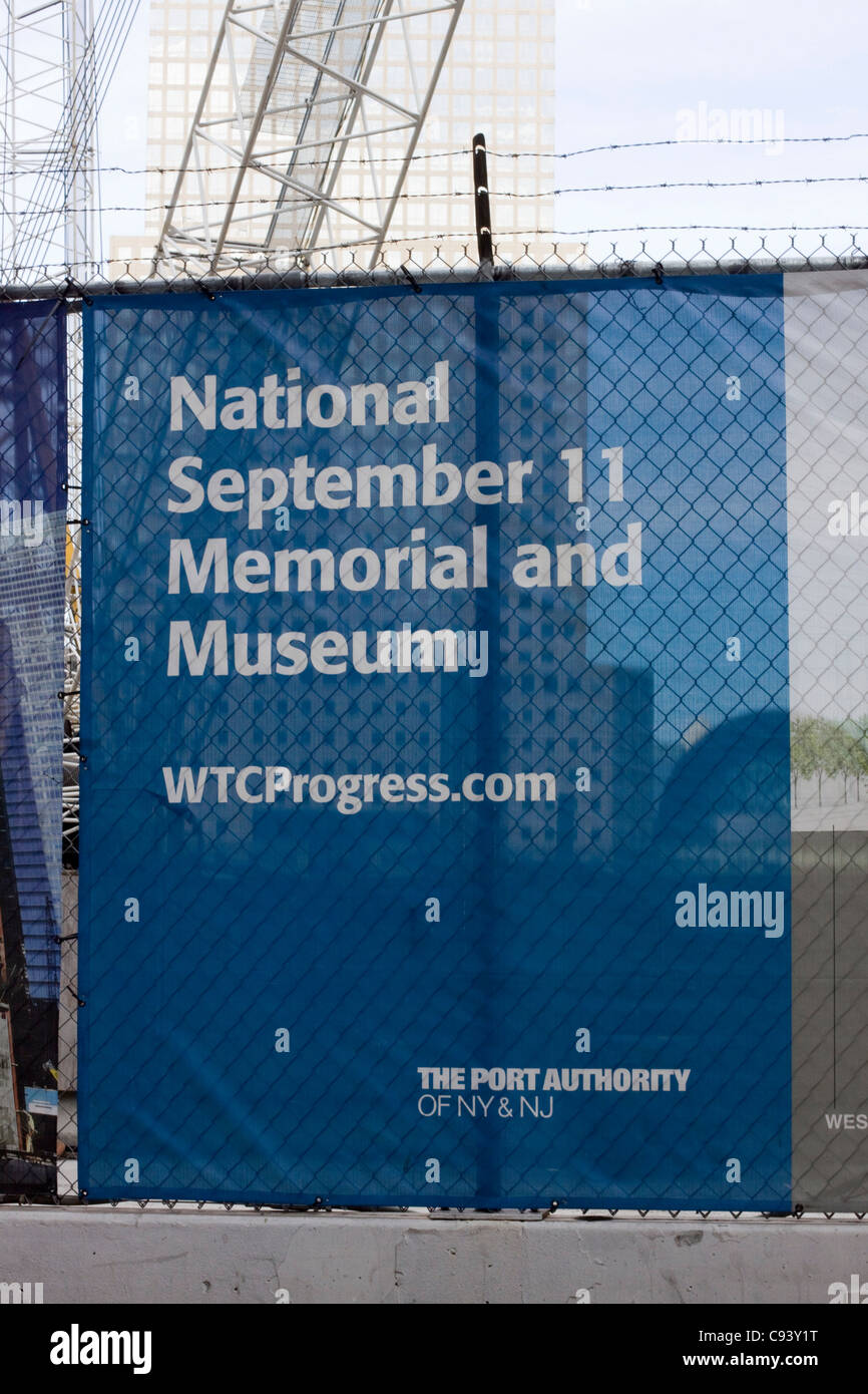Sign to give the public information about the National September 11 Memorial Museum - Stock Image
