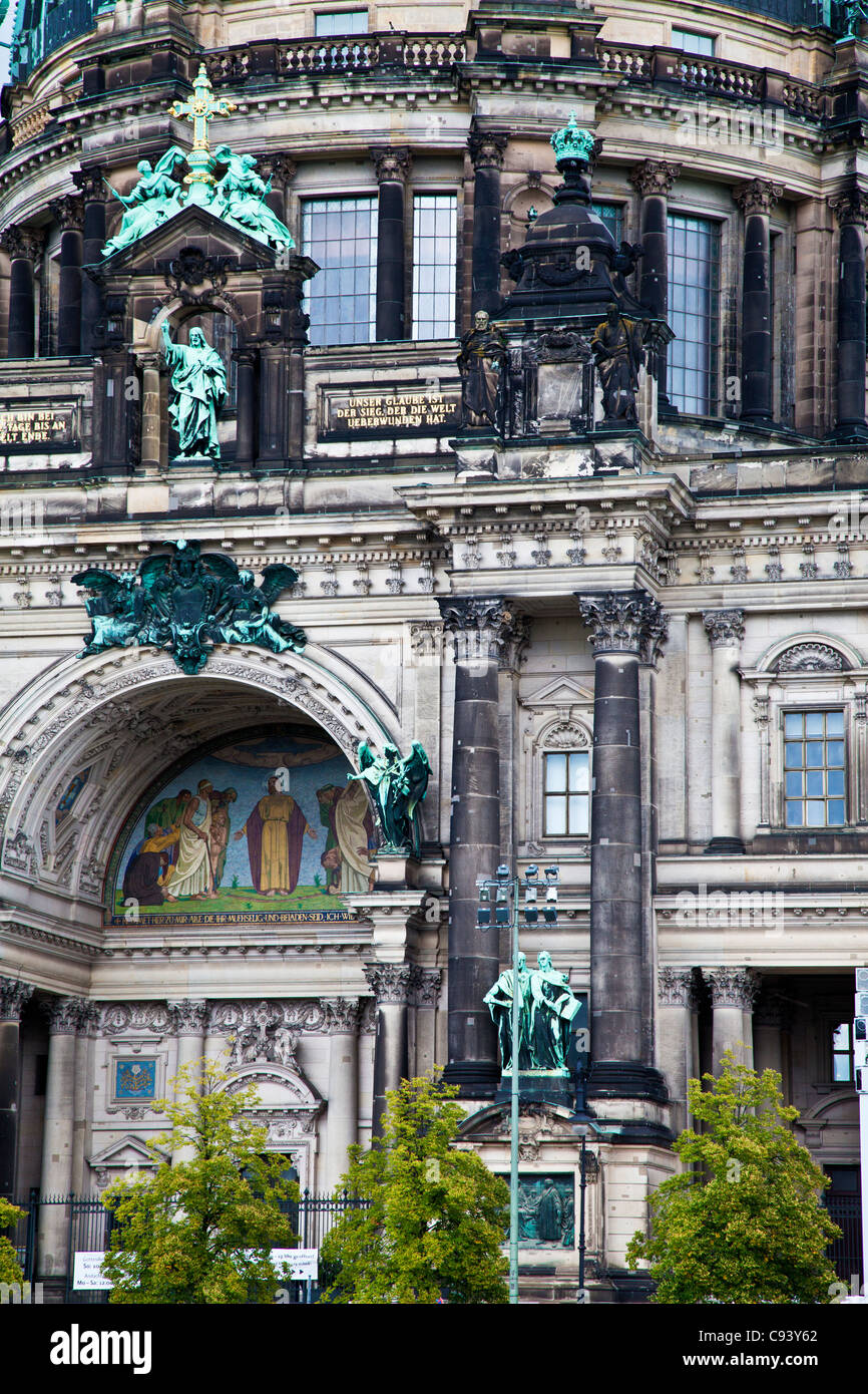 Close-Up detail of the facade of the Berliner Dom or Berlin Cathedral, Germany - Stock Image