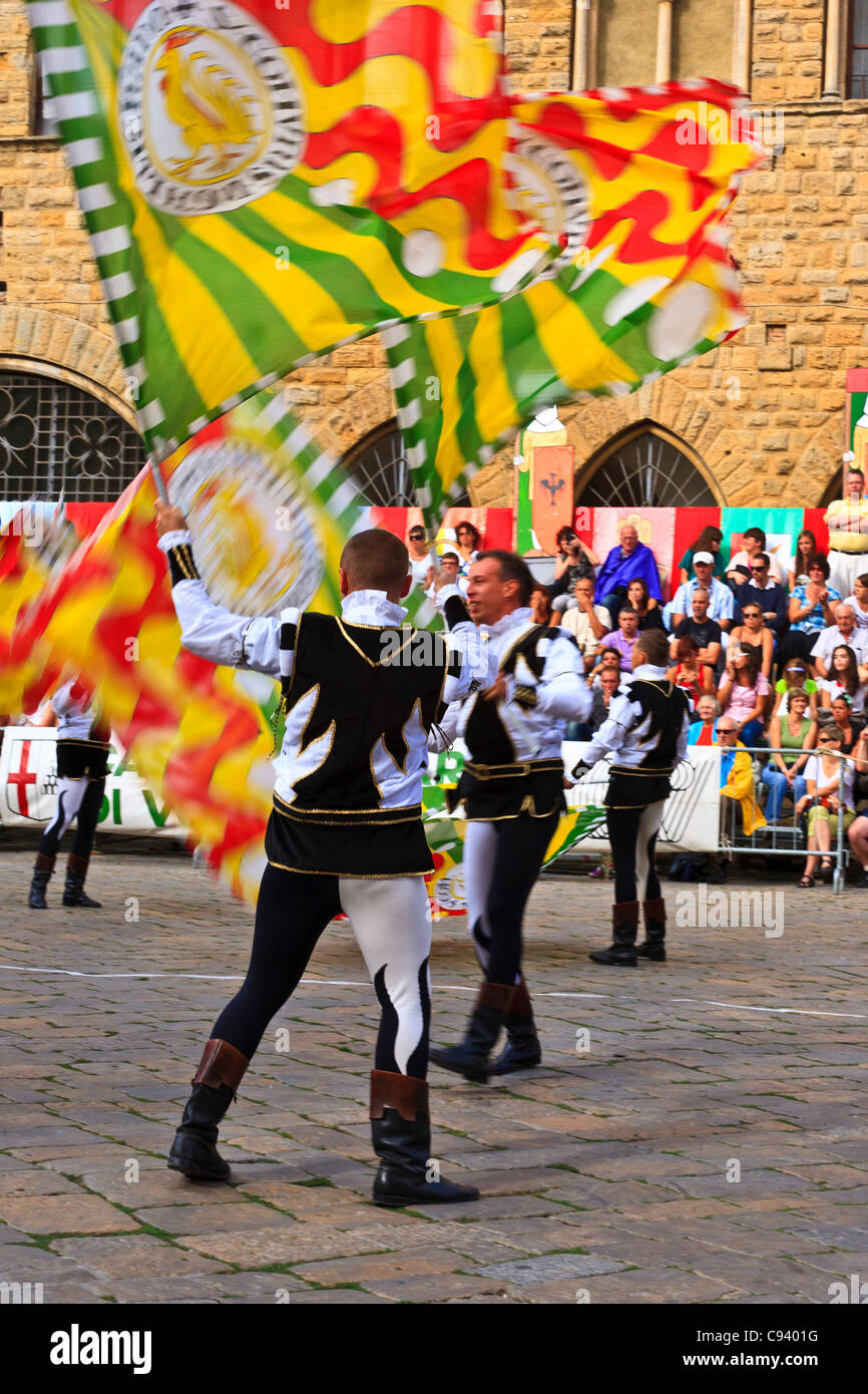 Flag throwing competition Volterra Italy - Stock Image