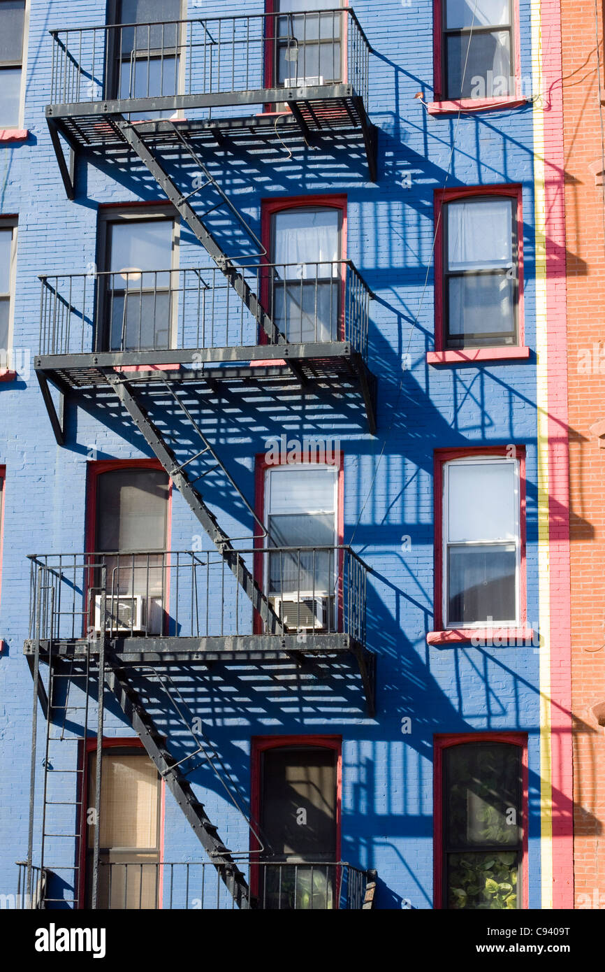 The Fire Escape Stairs On The Outside Of The Skyscraper Homes In New York  City USA