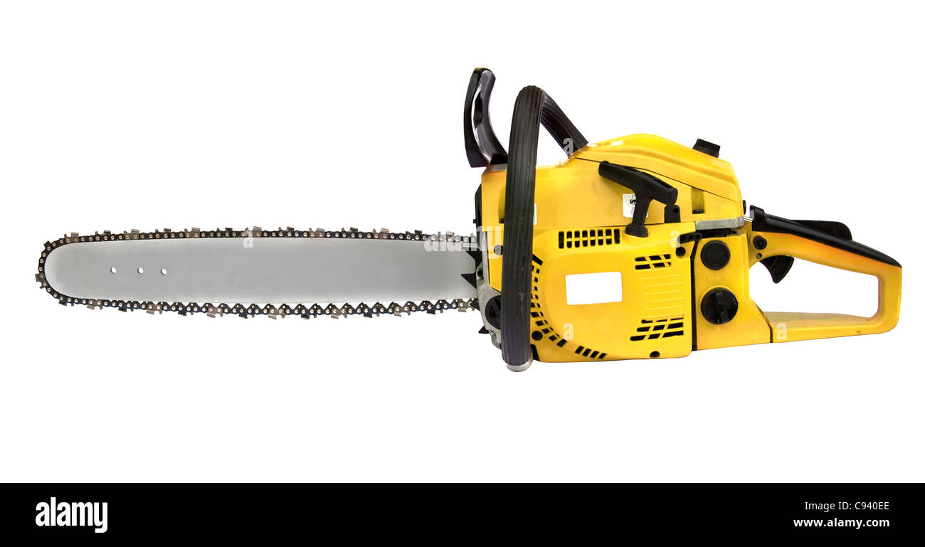 yellow chainsaw isolated on white background Stock Photo