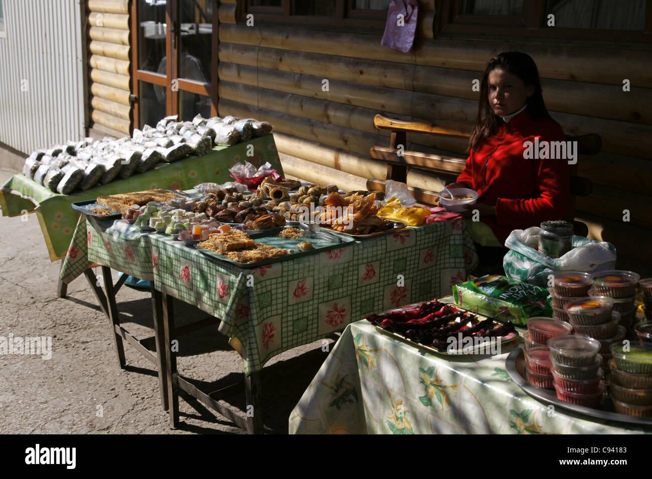 TATAR FOOD DESERTS FOR SALE AI-PETRI CRIMEA UKRAINE 27 September 2011 - Stock Image