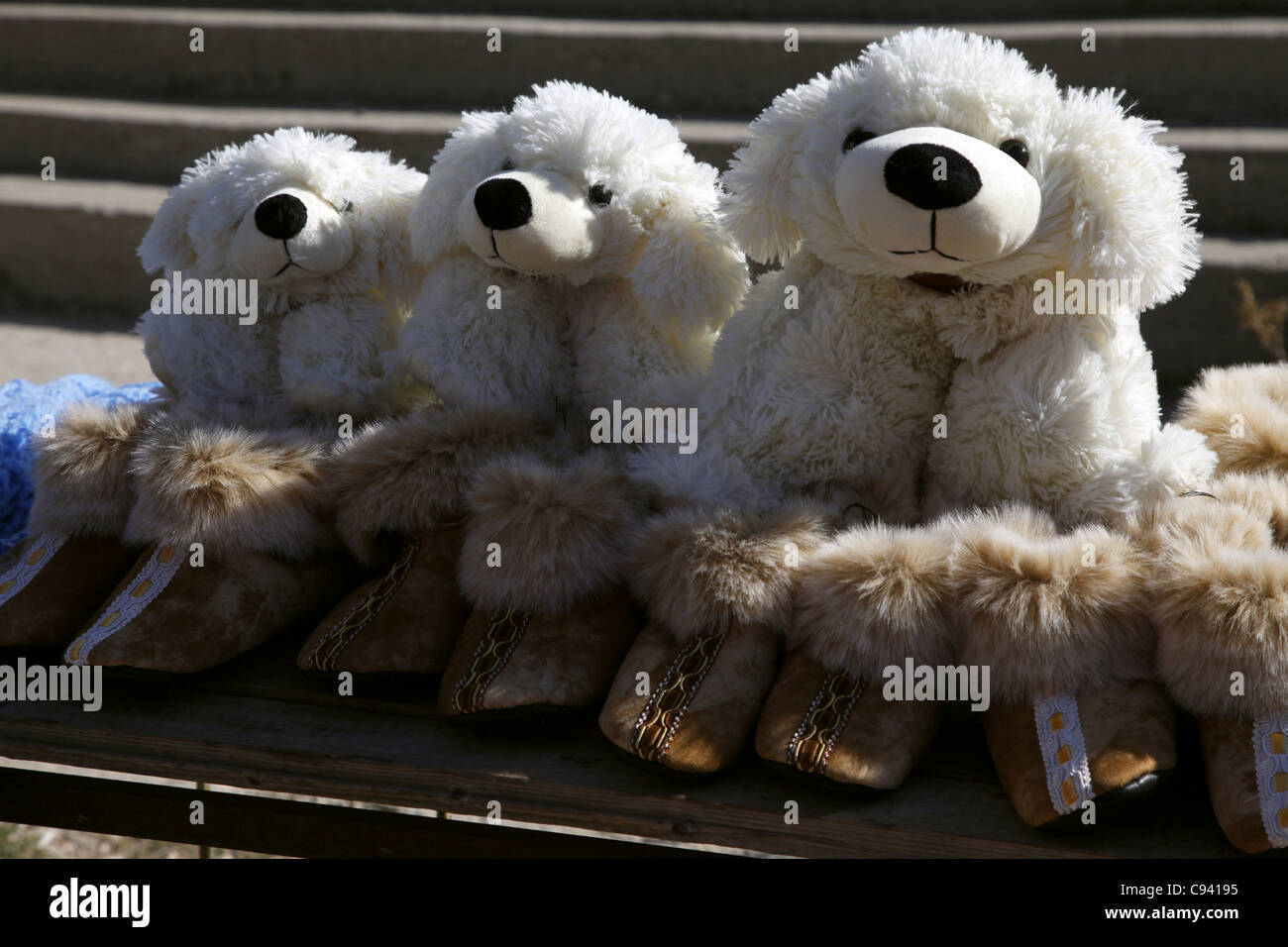 QUETE CUDDLY TOY DOGS AI-PETRI CRIMEA UKRAINE 27 September 2011 - Stock Image