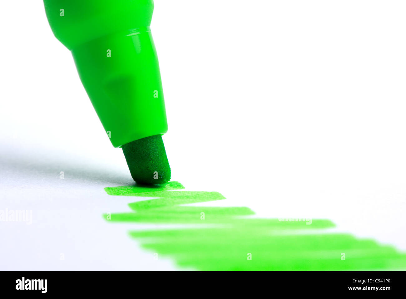 Green highlighter - Stock Image