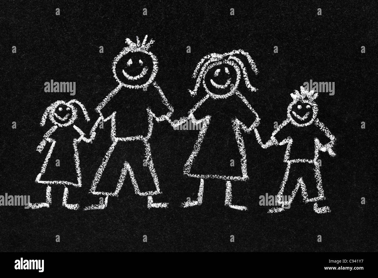 Chalk drawing of a family - Stock Image