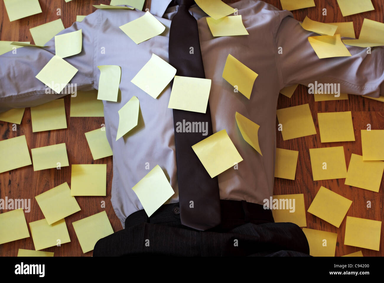 Adhesive note reminder overload - Stock Image