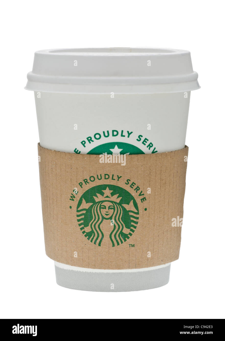cup of starbucks coffee with protective sleeve and showing new logo