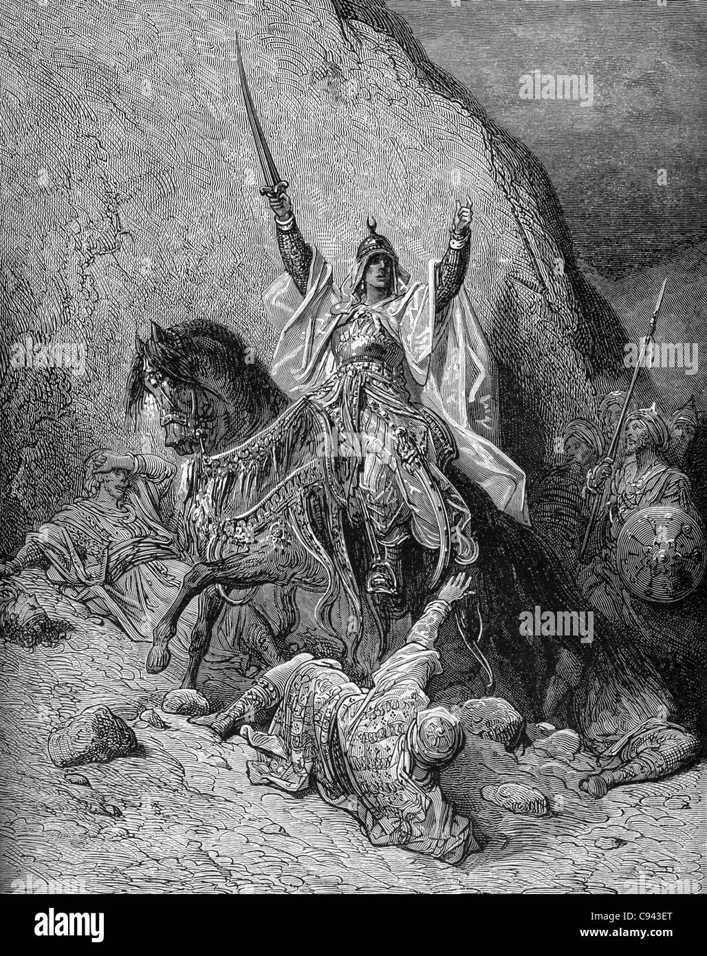 Saladin (1137?-1193) was a Muslim warrior and sultan of Egypt. He defeated the Crusaders in the Battle of Hattin - Stock Image