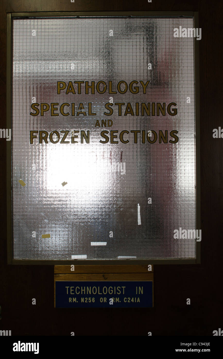 Old Fashioned Hospital Lab Door - Stock Image
