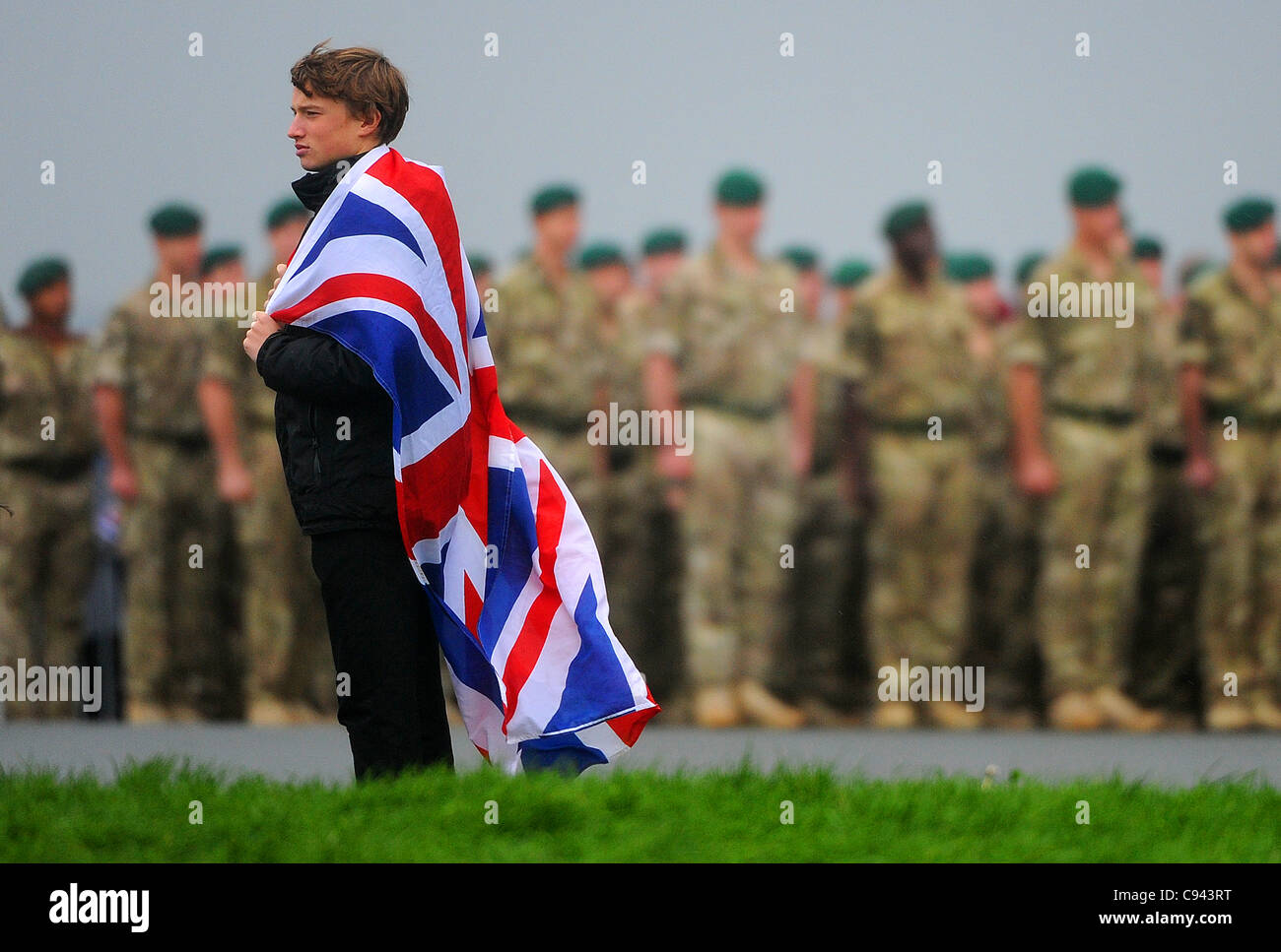 11.11.11. Royal Marine Commandos take part in the Remembrance Service to mark Armistice Day on Plymouth Hoe in Devon. - Stock Image
