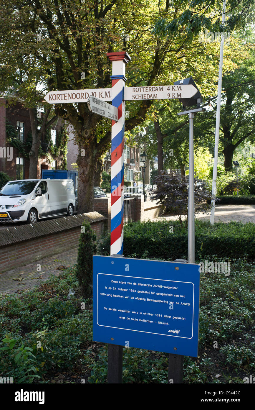 Replica of the first signpost of the Dutch Automobile Association Stock Photo