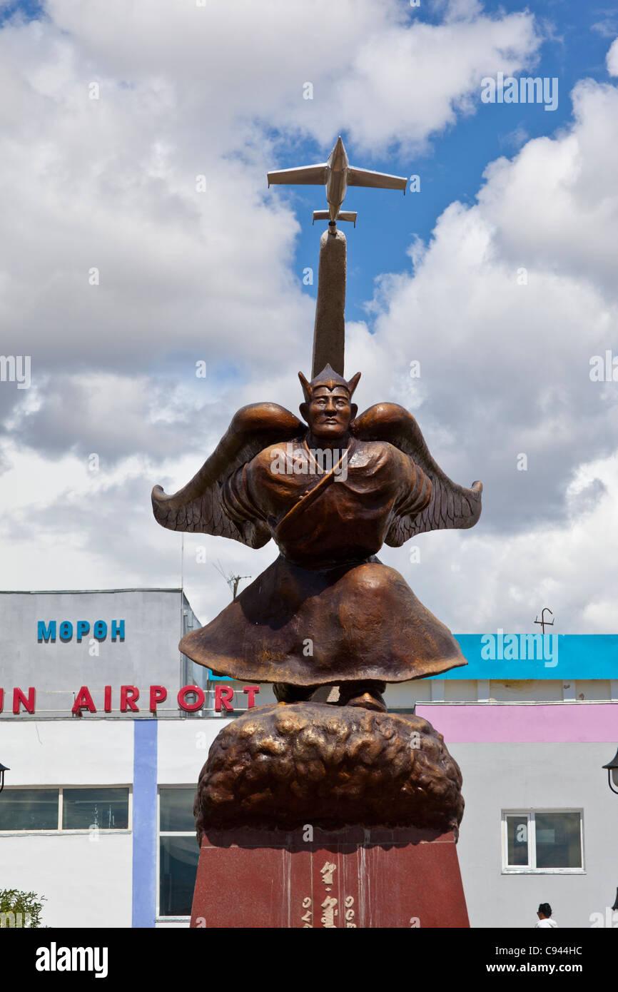 Khainzan Gelenkhuu statue of a Mongolian hero who dreamed of flying - Stock Image