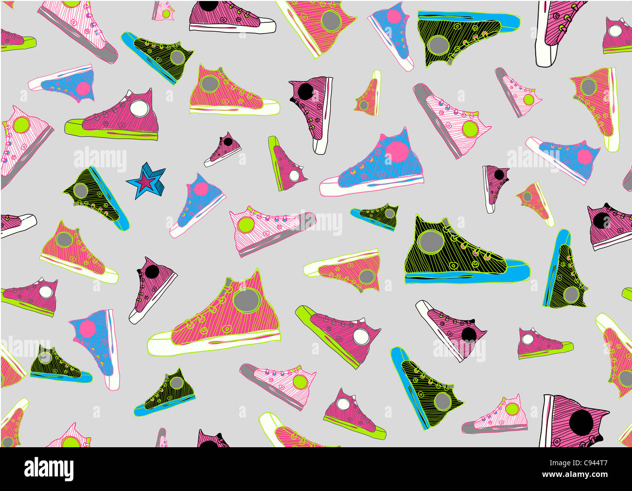 Retro Seamless Pattern made of cool hand-drawn sport shoes in different colors. - Stock Image
