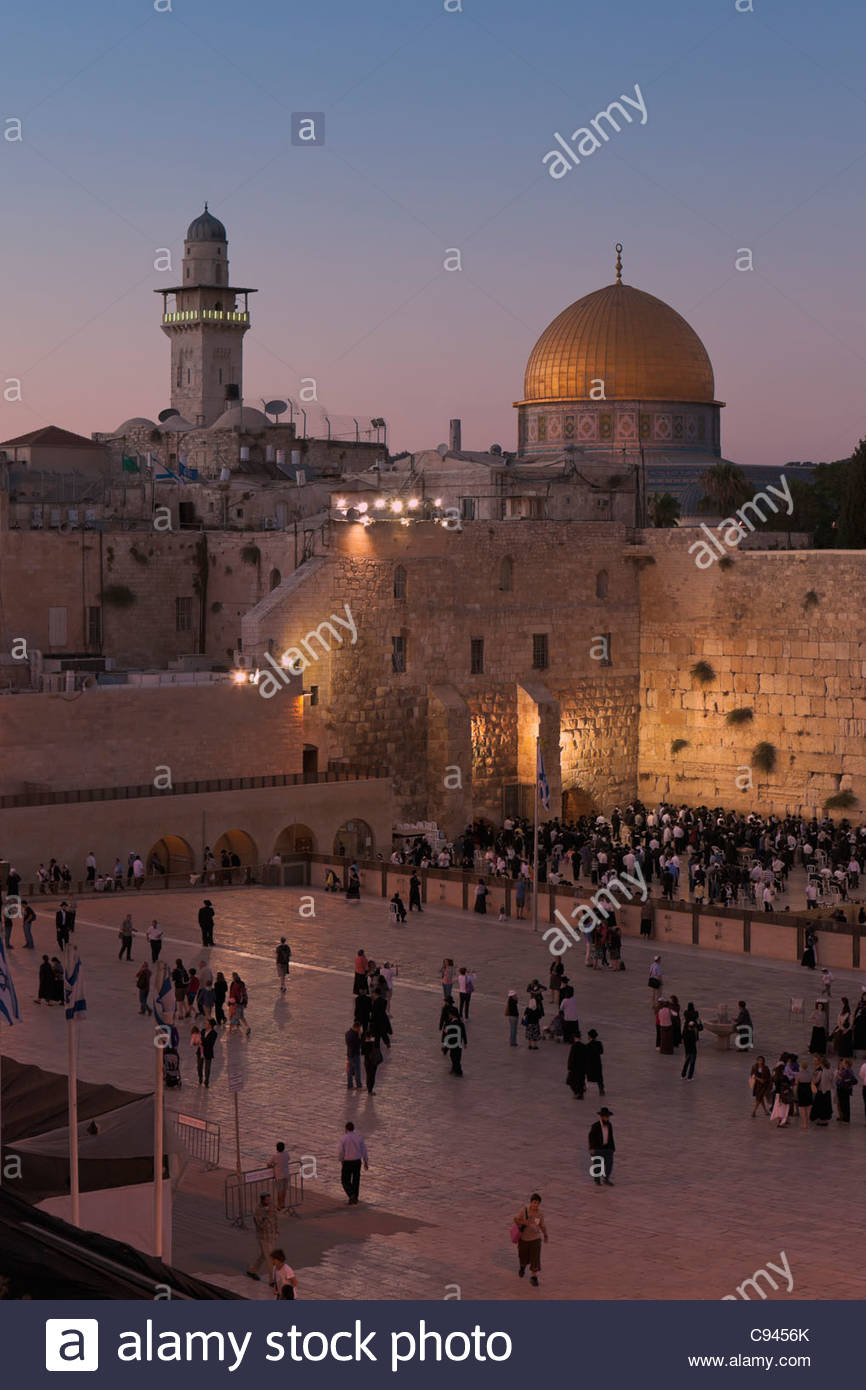 Western Wailing Wall and Dome of the Rock, Old City, Jerusalem, Israel - Stock Image