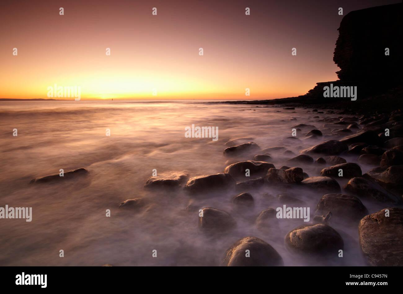 Sunset at Nash Point, Glamorgan Heritage Coast, South Wales - Stock Image