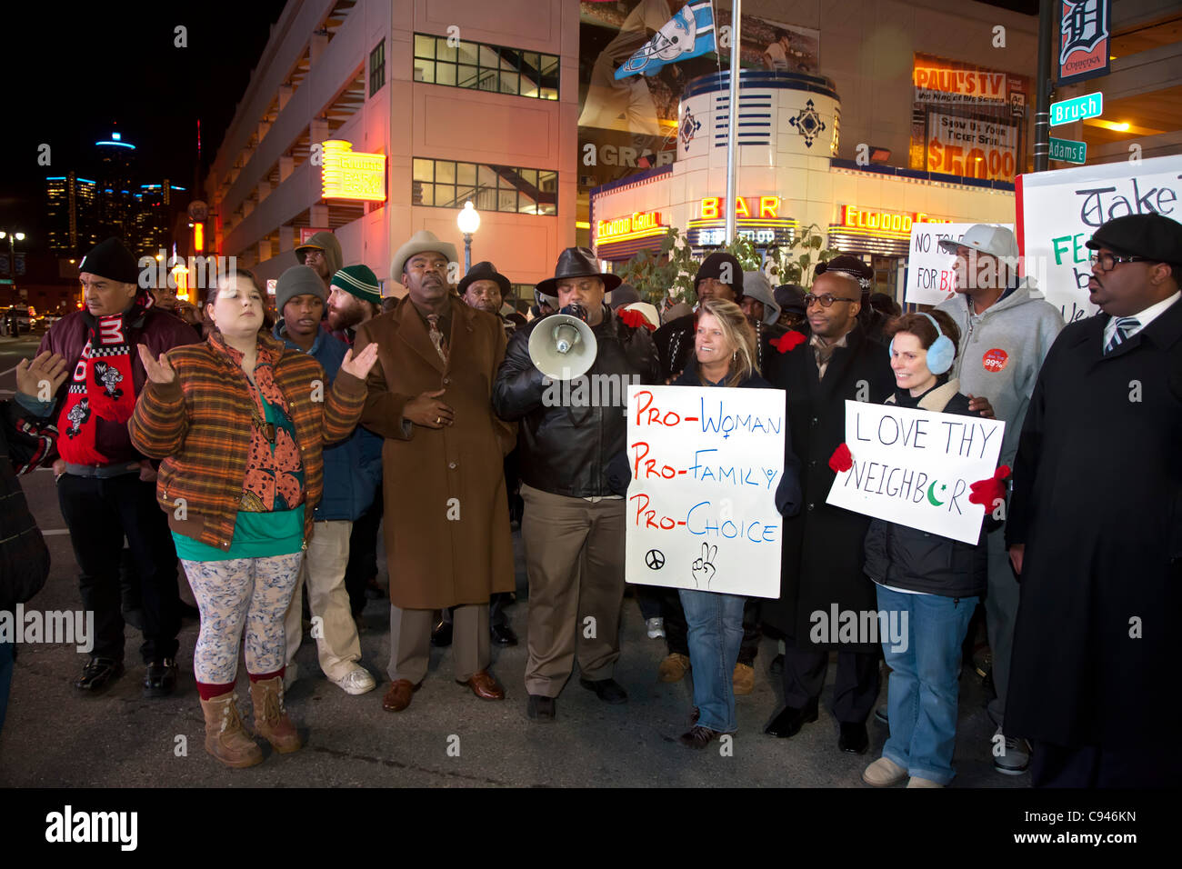 Detroit, Michigan - A group of religious leaders rallied outside Ford Field as thousands inside attended a 24-hour - Stock Image