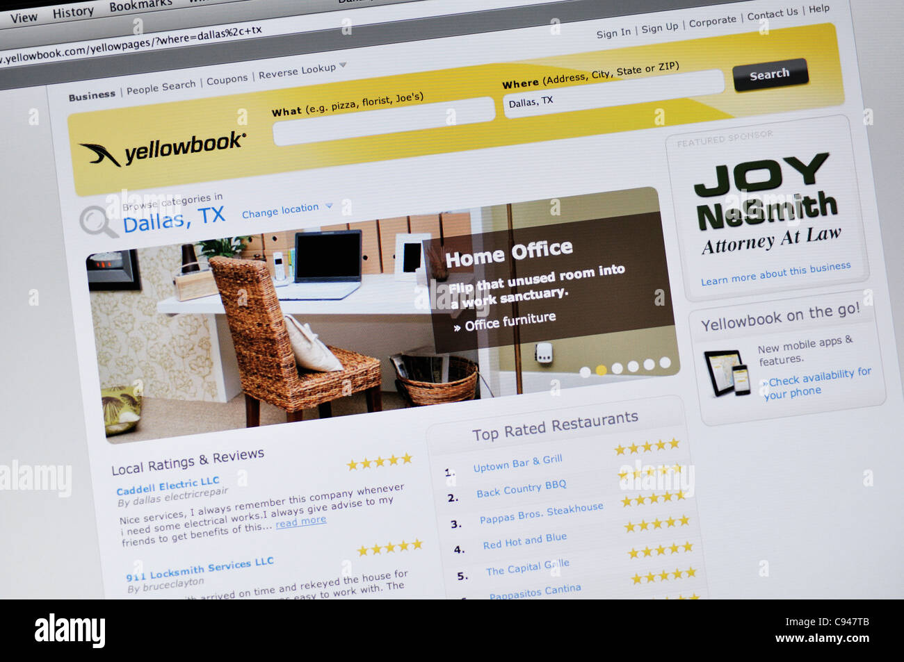 Yellow Pages phonebook website Stock Photo: 40046619 - Alamy
