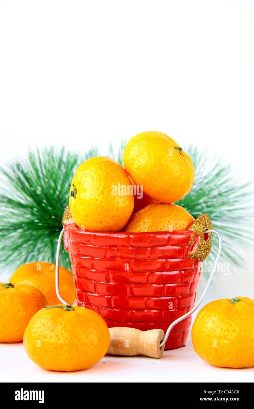 Mandarin oranges on a white background Stock Photo