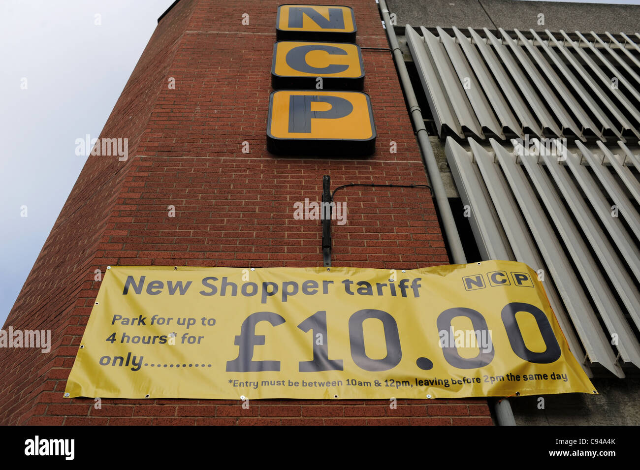 Bargain price for shoppers parking at this city centre car park in Brighton NCP - Stock Image