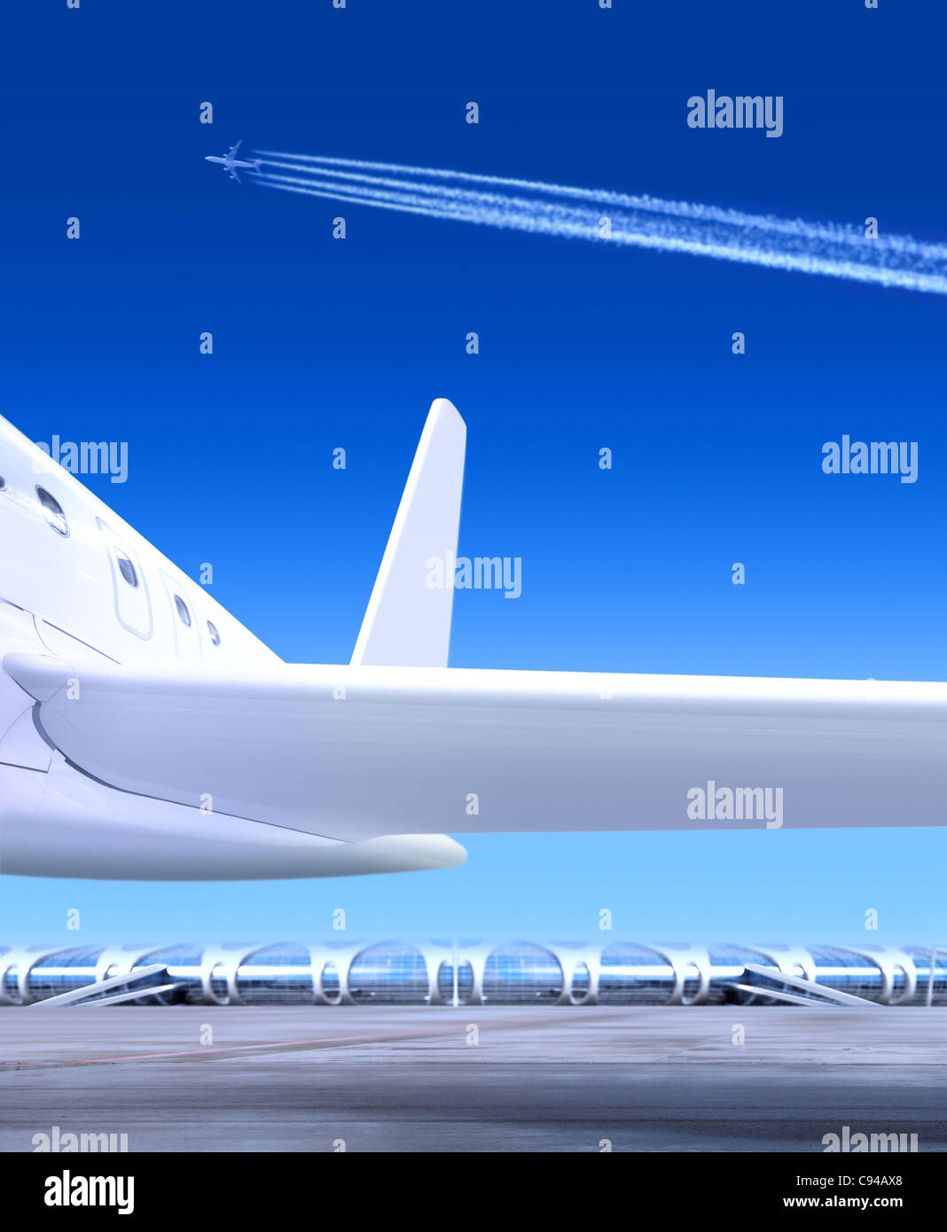part of small passenger plane that waiting for departure in airport - Stock Image