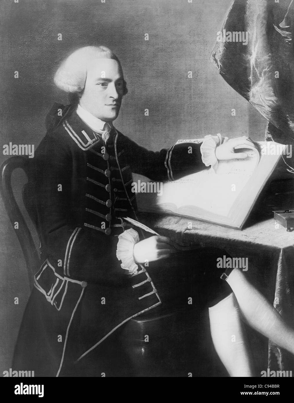 Vintage portrait painting of American statesman John Hancock (1737 - 1793) - President of the Second Continental - Stock Image