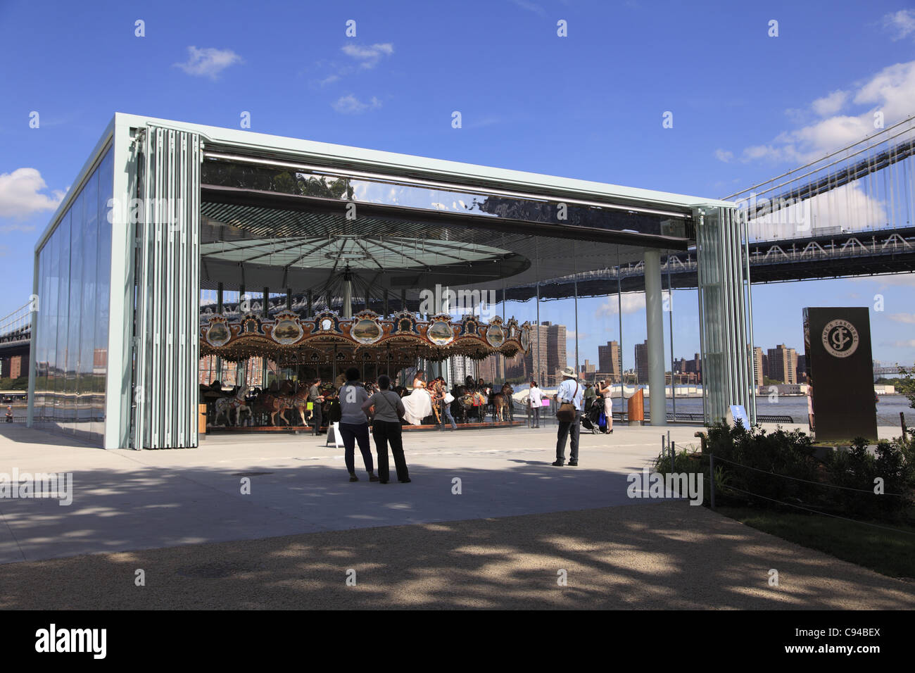 Jane's Carousel, Brooklyn Bridge Park, Dumbo (Down Under the Manhattan Bridge Overpass) Brooklyn, New York City, - Stock Image