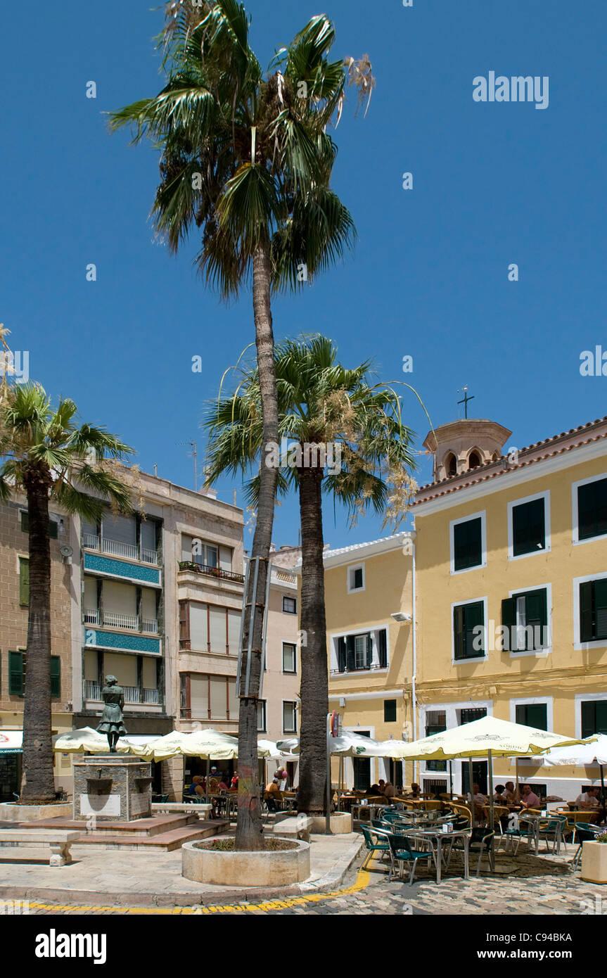 Cafes Plaza Mahon Menorca Balearics Spain - Stock Image