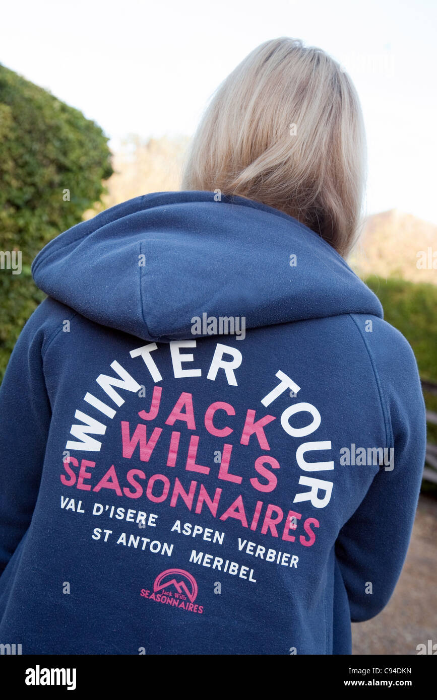 Girl wearing jack Wills clothing seen from back - Stock Image