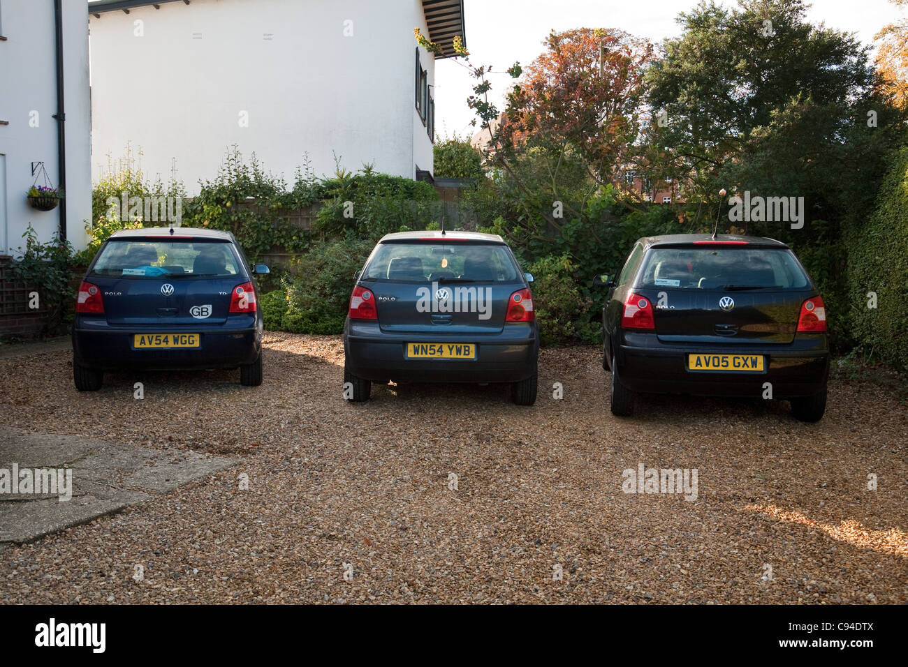 A row of three VW polos, UK - Stock Image