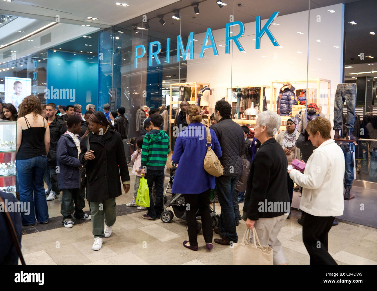 Crowds of people outside the primark store, Westfield shopping centre Stratford London UK Stock Photo