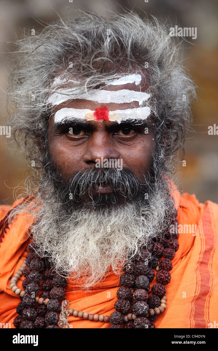 Sadhu portrait Arunachala Tamil Nadu India - Stock Image