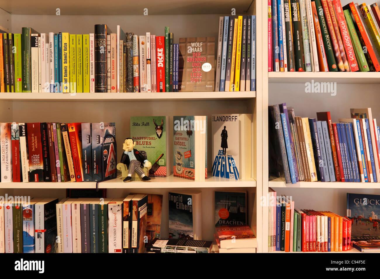 Book shelves full of books, Prien Chiemgau Upper Bavaria Germany - Stock Image