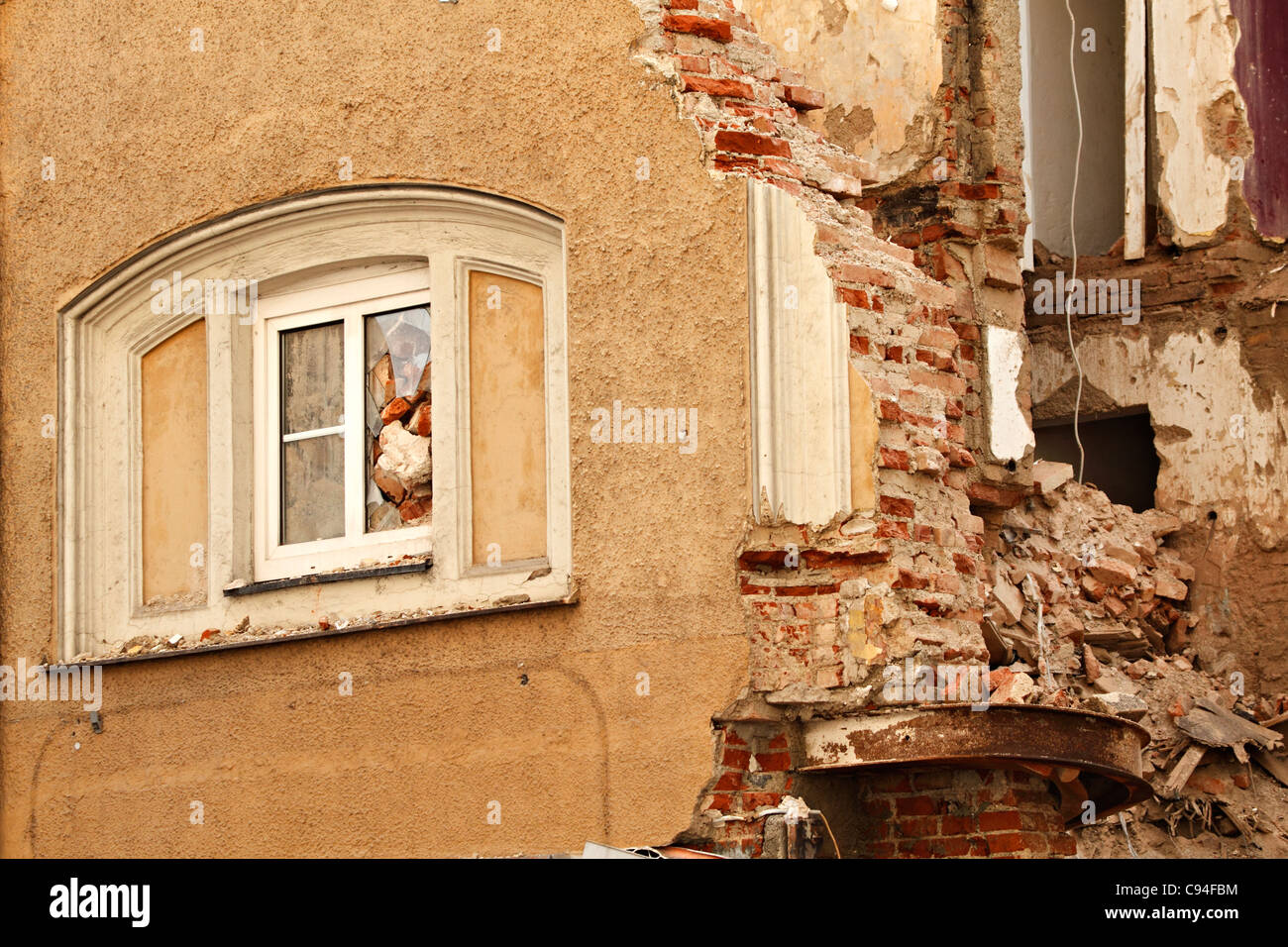 Broken window at a demolition site, Munich Upper Bavaria Germany - Stock Image