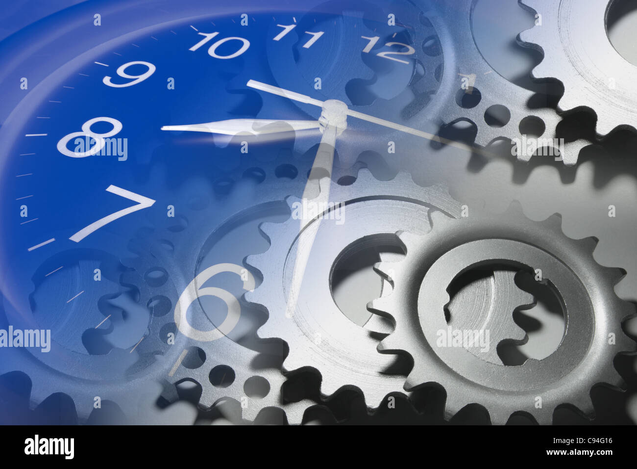 Clock and Cog Wheels - Stock Image