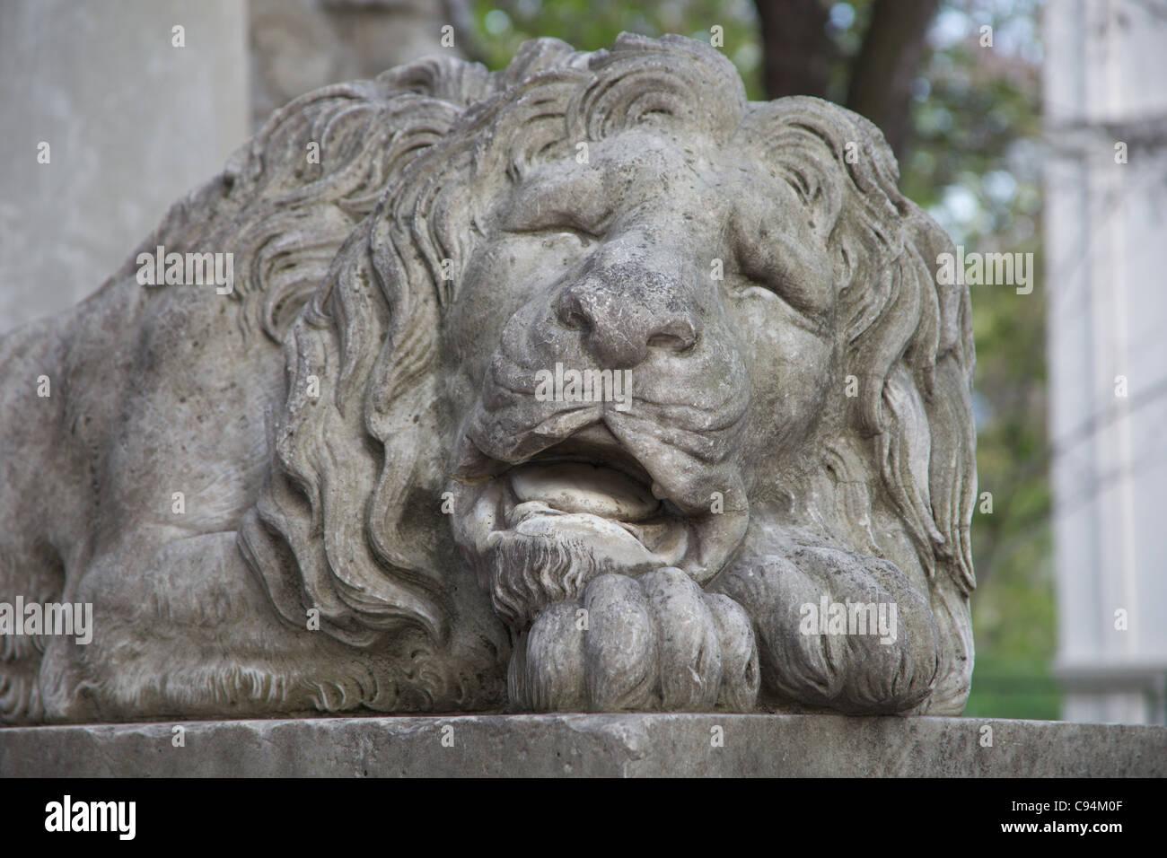 Statue of Sleeping Lion, L'viv, Ukraine - Stock Image