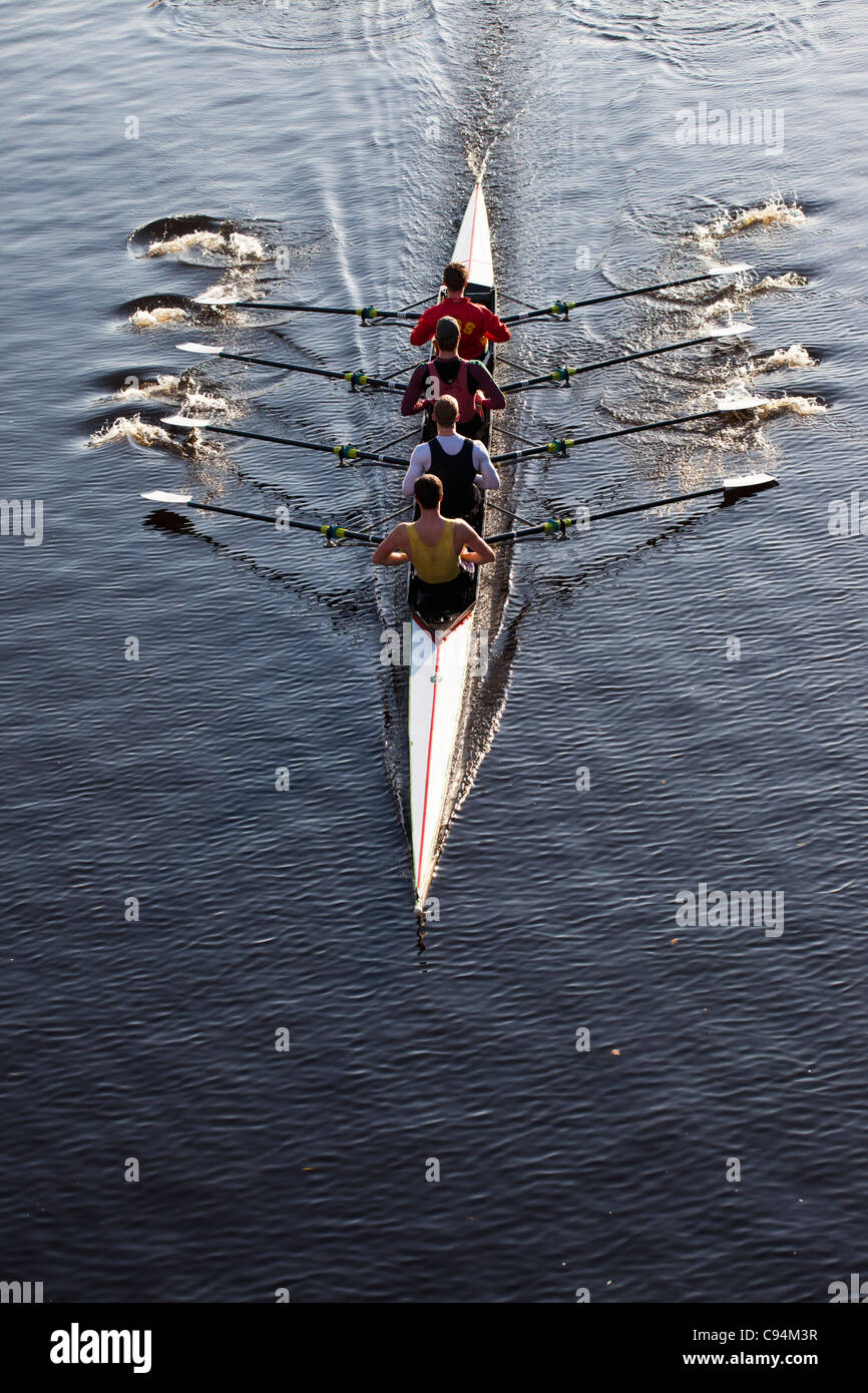 Quadruple Scull Training - Stock Image