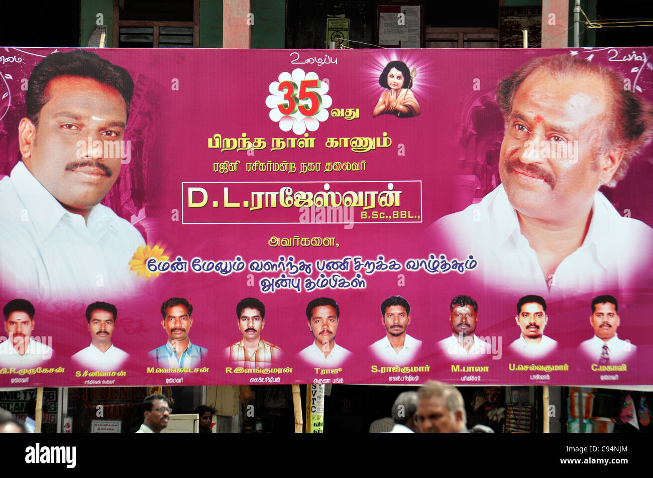 South Indian Political Poster, Politicians Politics Banner Election Time 'Election Banner' 'political - Stock Image