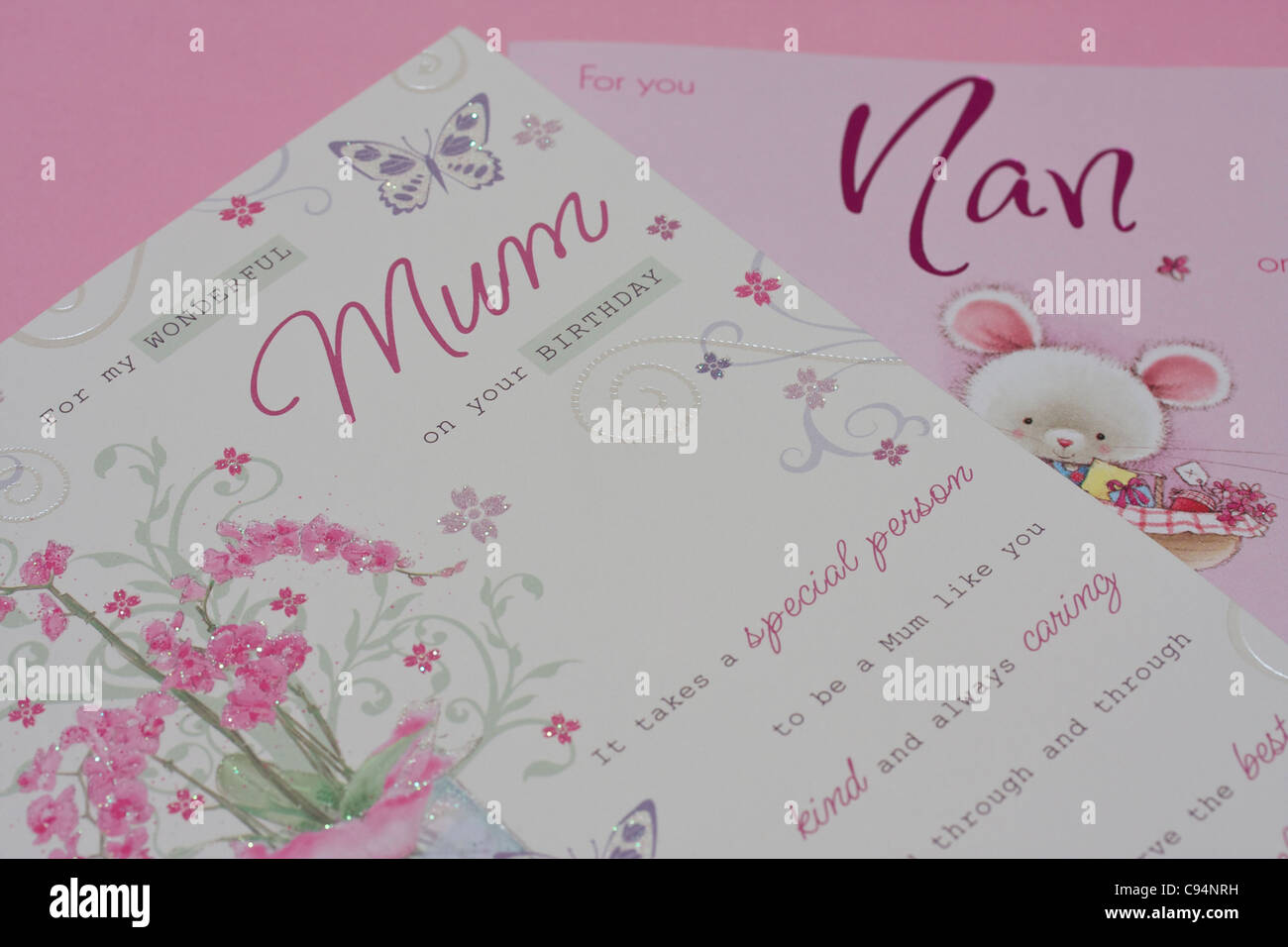 Birthday Cards On Pink Background For Mum And Nan Focus Word