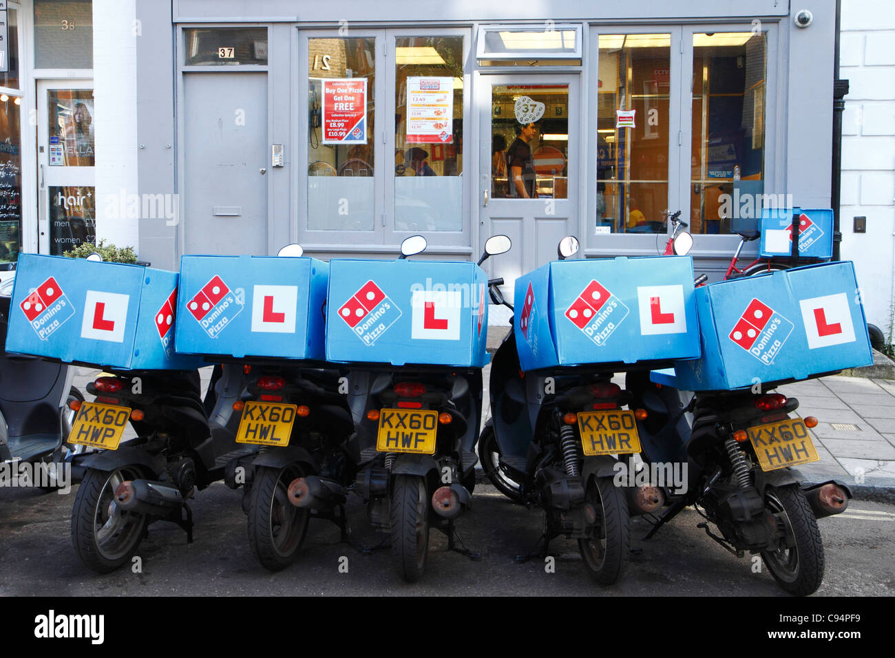 Dominos Pizza Delivery Bikes London Uk Stock Photo
