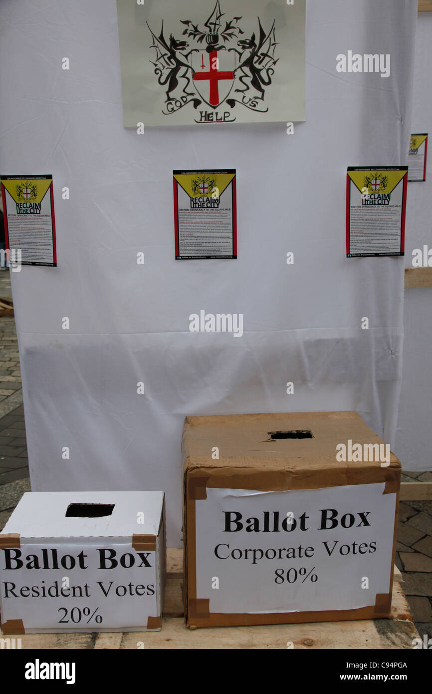 Alternative ballot boxes by Occupy London tent city outside St. Paul's cathedral. London, UK - Stock Image