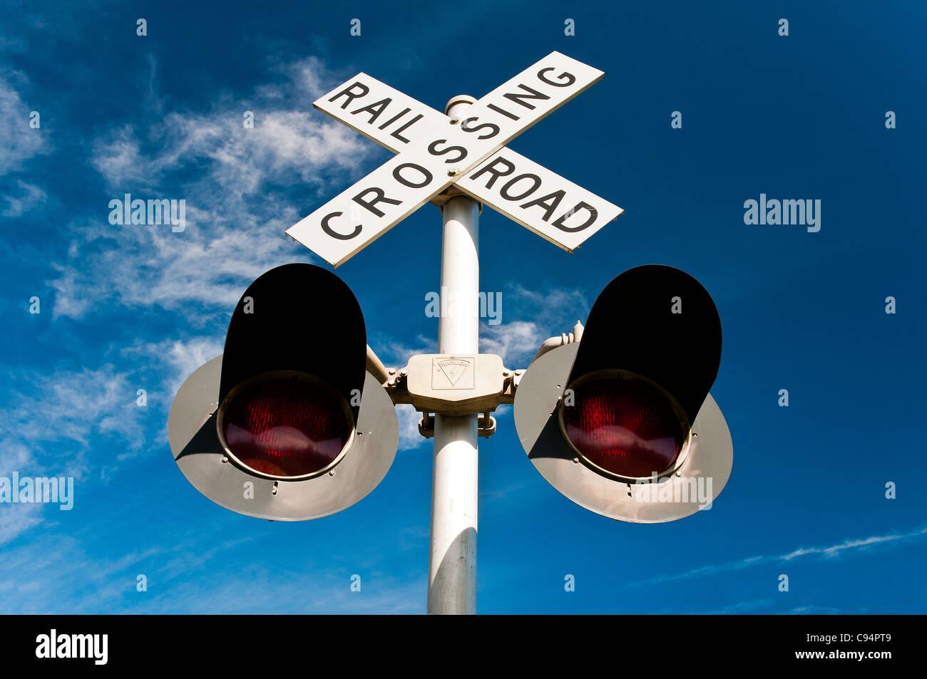 American railroad crossing, Seattle, Washington, USA - Stock Image