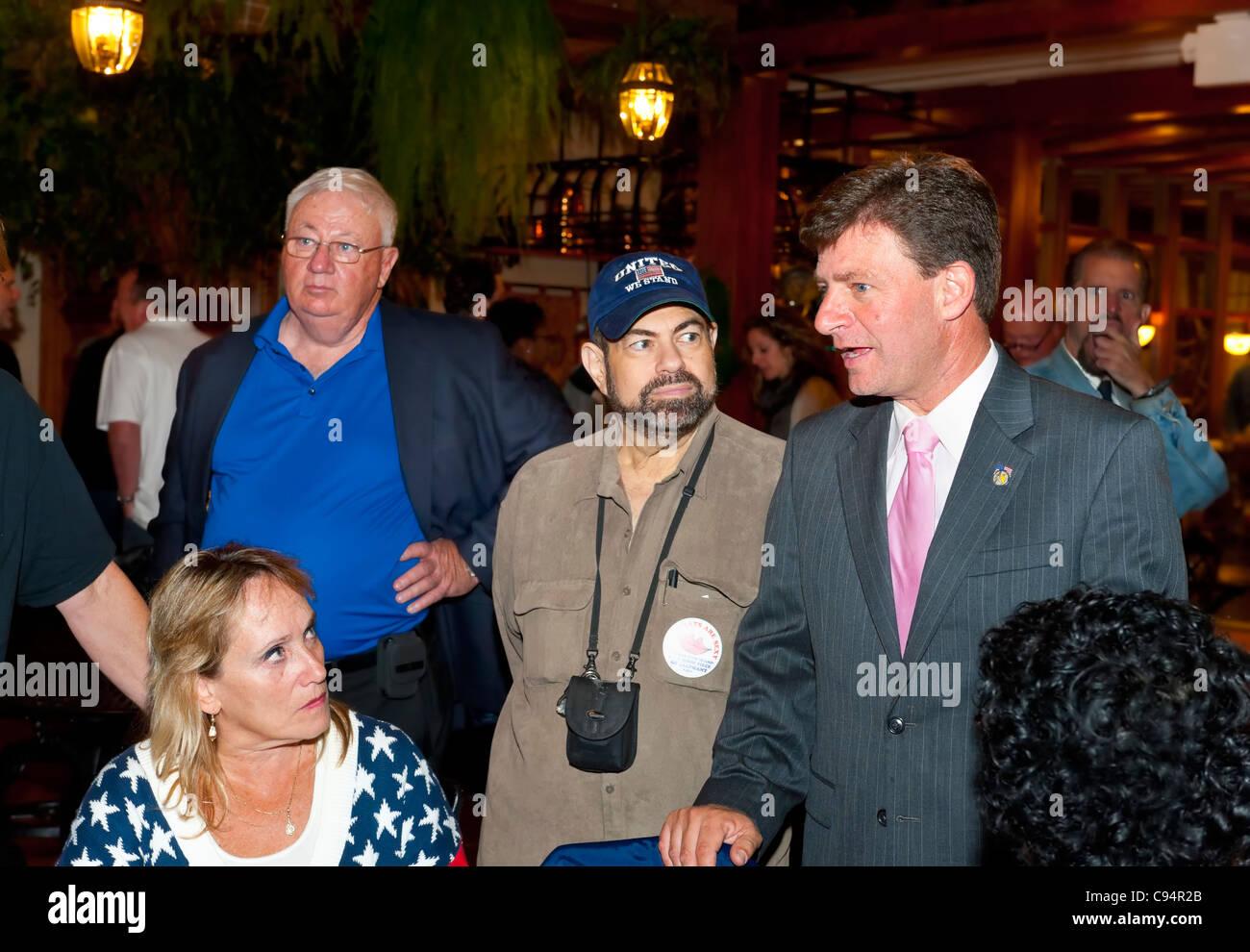 Re-elected Nassau County Legislator Dave Denenberg (D-Merrick) at Democratic Election Night Party, Mineola, New - Stock Image