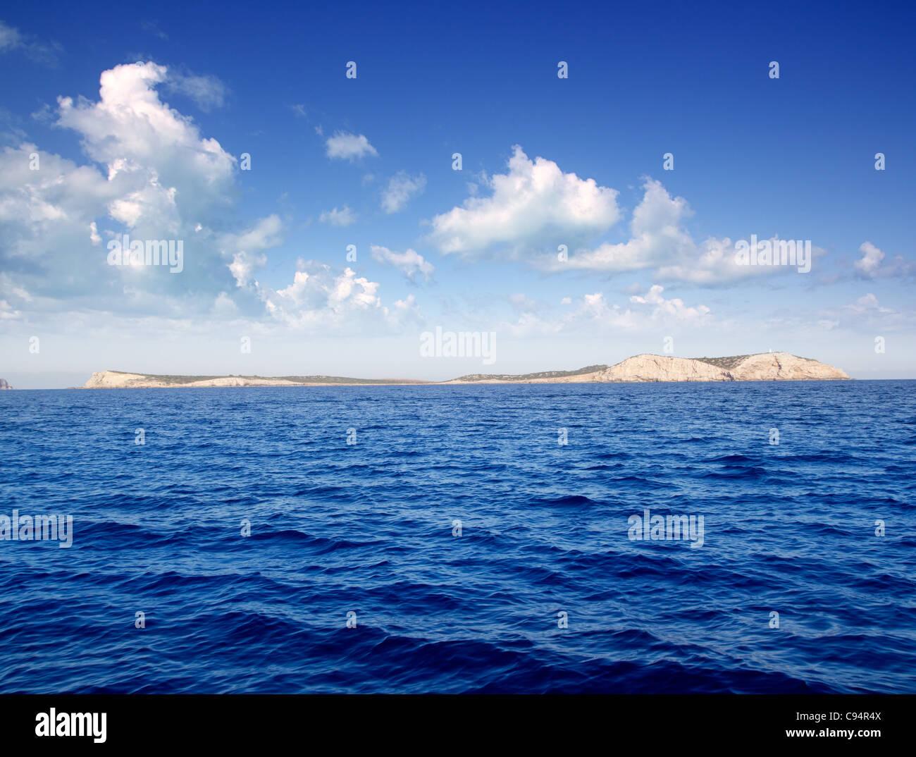 Ibiza Conillera and Bosque islands in a blue day in Mediterranean - Stock Image