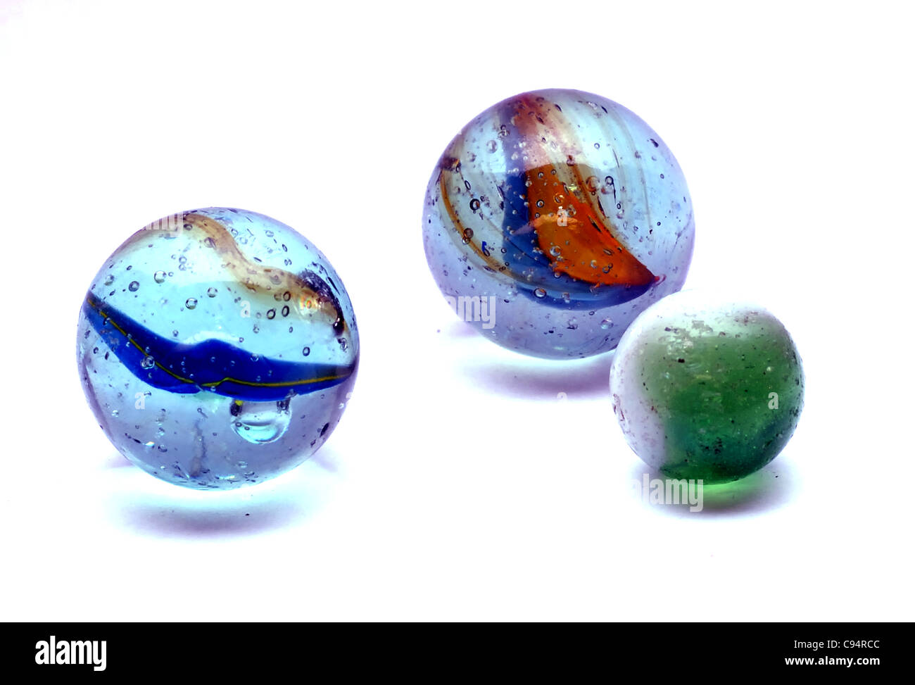 A selection of  colourful marbles, - Stock Image