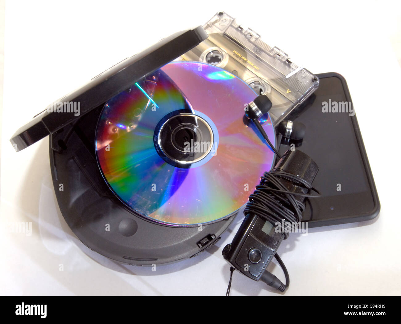An MP3, compact disc, CD, cassette tape,  music through the ages. - Stock Image